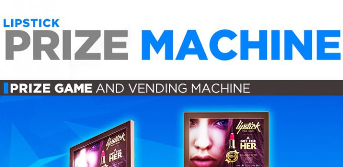 Lipstick Makeup Vending Machine With Three Levels RGB LED 220V Black Pink 0